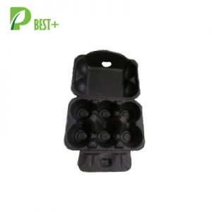 Black 6 egg carton pulp boxes